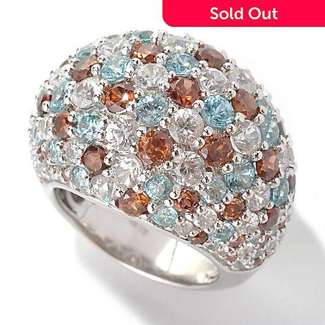 132-858 - Gem Insider® Sterling Silver 11.30ctw Brown, Blue & White Zircon Dome Ring