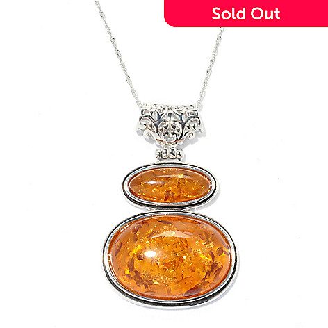 132-860 - Gem Insider™ Sterling Silver 28 x 19mm Amber Double Oval Pendant w/ Chain
