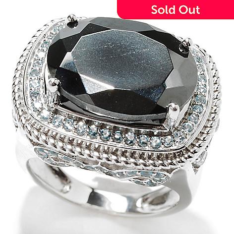 132-861 - Gem Insider™ Sterling Silver 16 x 12mm Hematite & Sky Blue Topaz Tri-Level Ring