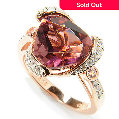 132-872 - Brilliante® Rose Gold Embraced™ 3.56 DEW Trillion Simulated Rhodolite Swirl Ring