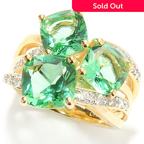 132-874 - Brilliante® Gold Embraced™ 3.90 DEW Cushion Cut Simulated Mint Spinel Three-Stone Ring