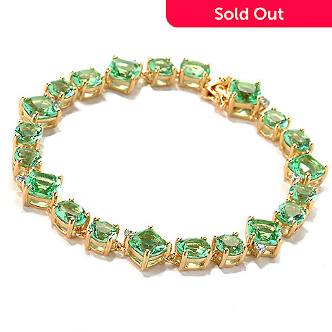 132-877 - Brilliante® Gold Embraced™ Multi Shaped Simulated Mint Spinel Line Bracelet