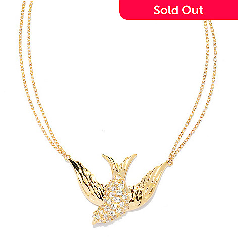 132-879 - Brilliante® 18'' Round Pave Set Simulated Diamond Soaring Bird Necklace