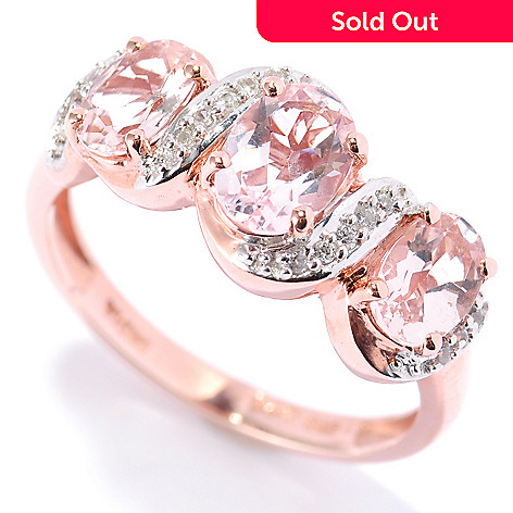 132-886 - NYC II™ 2.36ctw Morganite & White Zircon Ribbon Band Ring