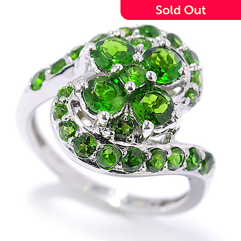 132-887 - NYC II 1.61ctw Chrome Diopside Flower Design Swirl Band Ring