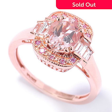 132-888 - NYC II™ 1.53ctw Morganite, Pink Sapphire & Baguette White Topaz Ring