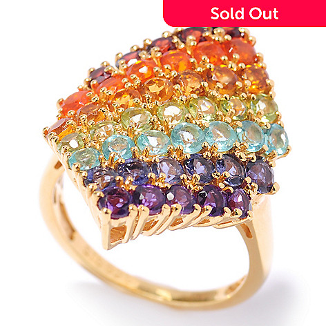 132-889 - NYC II 2.27ctw Exotic Multi Gemstone Diamond Shaped Ring