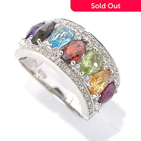 132-892 - NYC II 2.78ctw Pear Shaped Multi Gemstone & White Zircon Band Ring