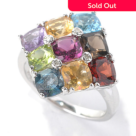 132-893 - NYC II® 4.58ctw Cushion Cut Multi Gemstone & Diamond Ring