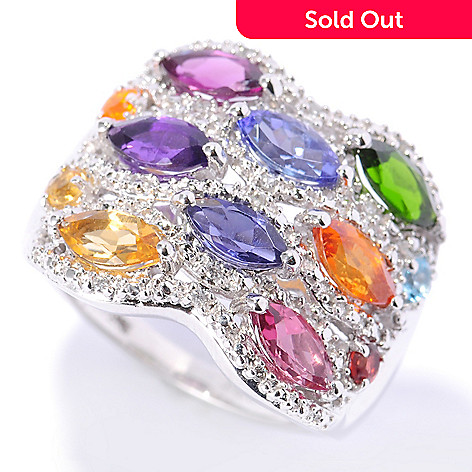 132-894 - NYC II 2.71ctw Marquise Shaped Exotic Multi Gemstone Wide Band Ring