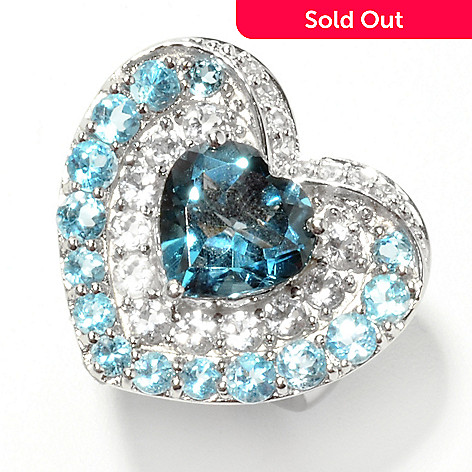 132-895 - NYC II™ 5.20ctw Heart Cut London Blue Topaz & Multi Gemstone Ring