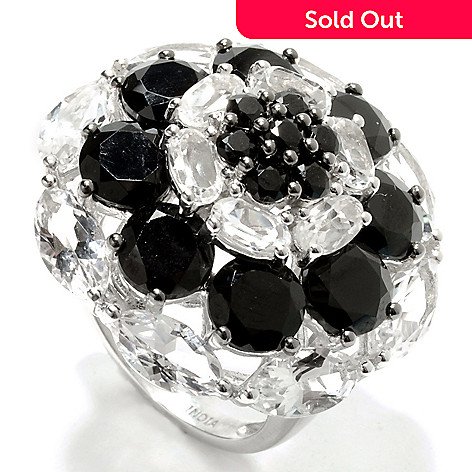 132-896 - NYC II 11.99ctw Black Spinel & White Topaz Flower Dome Ring