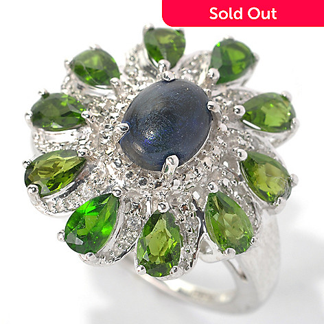 132-903 - NYC II 8 x 6mm Smoked Sable Ethiopian Opal, Chrome Diopside & White Zircon Ring