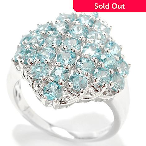 132-909 - Gem Insider Sterling Silver 4.60ctw Blue Zircon Wavy Rhombus Ring