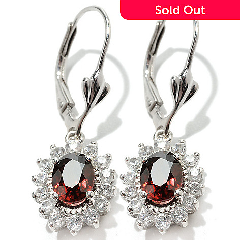 132-910 - Gem Insider 1.25'' Sterling Silver 3.46ctw Colored & White Zircon Halo Leverback Earrings