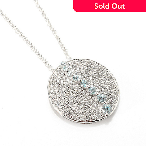 132-915 - Gem Treasures® Sterling Silver 2.37ctw White & Blue Zircon Circle Pendant w/ Chain