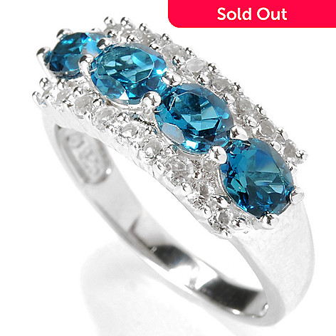 132-921 - Gem Insider Sterling Silver 3.18ctw White & London Blue Topaz Three-Row Ring