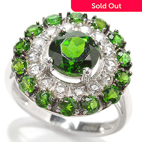 132-922 - Gem Insider™ Sterling Silver 3.04ctw Chrome Diopside & White Topaz Halo Ring