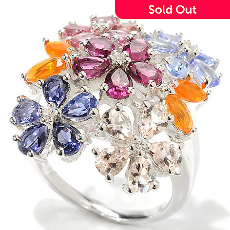 132-923 - Gem Insider Sterling Silver 4.18ctw Multi Gemstone Floral Arrangement Ring