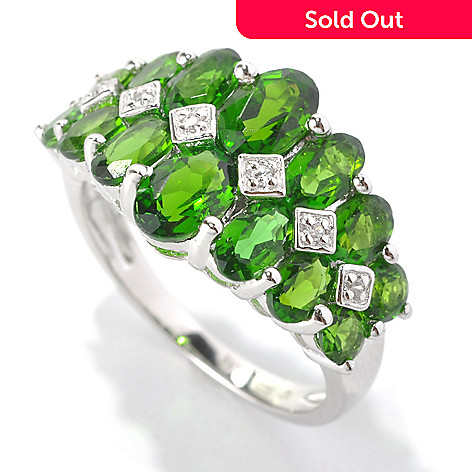 132-925 - NYC II™ 3.33ctw Chrome Diopside & Diamond Graduated Band Ring