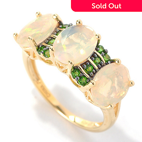 132-927 - NYC II Faceted Oval Ethiopian Opal & Exotic Gemstone Band Ring