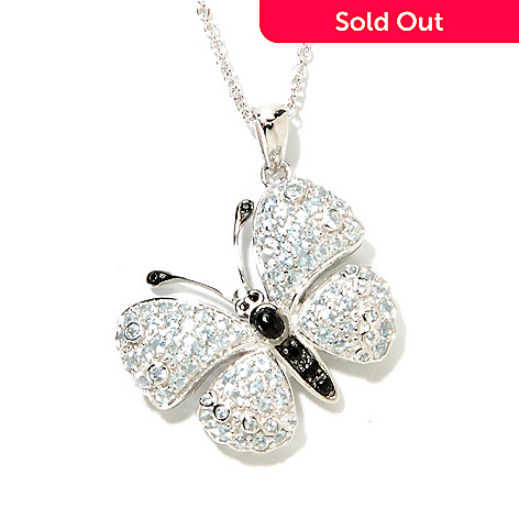 132-931 - Gem Treasures® Sterling Silver 1.98ctw Blue Topaz & Spinel Butterfly Pendant w/ Chain