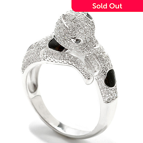 132-933 - Gem Treasures Sterling Silver 3.51ctw Spinel & White Zircon Leopard Ring
