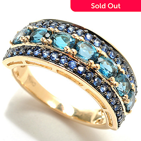 132-934 - Gem Treasures® 14K Gold 1.78ctw London Blue Topaz & Sapphire Framed Band Ring