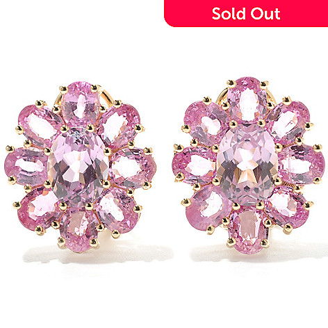 132-938 - Gem Treasures® 14K Gold 8.82ctw Kunzite & Pink Sapphire Flower Earrings