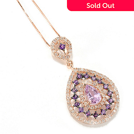 132-941 - Gem Treasures® 14K Rose Gold 1.64ctw Kunzite, Amethyst & Diamond Pendant w/ Chain