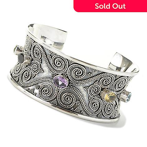 132-947 - Artisan Silver by Samuel B. 8'' 10.10ctw Oval Multi Gemstone Wide Cuff Bracelet