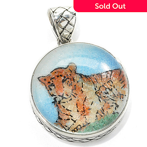 132-950 - Artisan Silver by Samuel B. Crushed Gemstone Tiger Pendant
