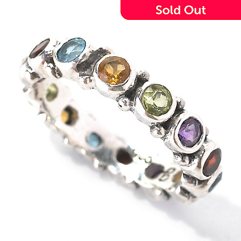 132-959 - Artisan Silver by Samuel B. 1.59ctw Bezel Set Multi Gemstone Eternity Band Ring