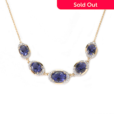 132-969 - Brilliante® Gold Embraced™ 18'' 17.94 DEW Simulated Tanzanite Five-Stone Necklace