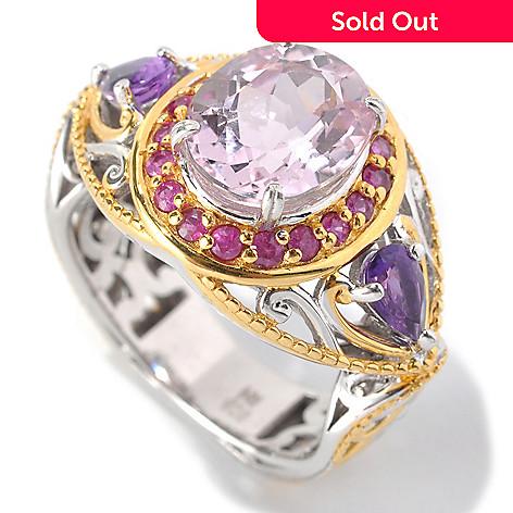 132-973 - Gems en Vogue 3.48ctw Kunzite, Dark Pink Sapphire & Amethyst Halo Ring