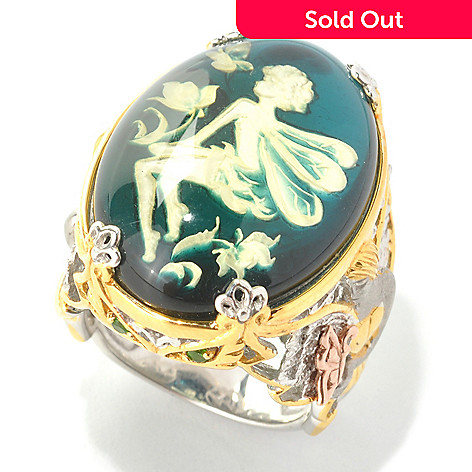 132-976 - Gems en Vogue 25 x 18mm Carved Amber Fairy Intaglio & Chrome Diopside Ring