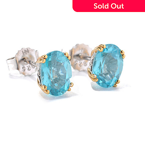 132-985 - Gems en Vogue 2.28ctw Oval Blue Apatite Stud Earrings