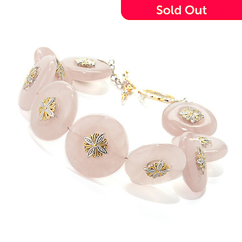 132-986 - Gems en Vogue 20mm Rose Quartz & Pink Sapphire Medallion Toggle Bracelet