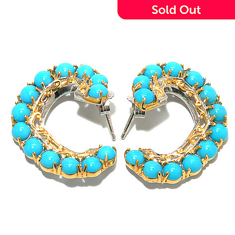 132-987 - Gems en Vogue Sleeping Beauty Turquoise Front-Facing Twist Hoop Earrings
