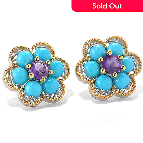 132-989 - Gems en Vogue Sleeping Beauty Turquoise & Gem Flower Button Earrings