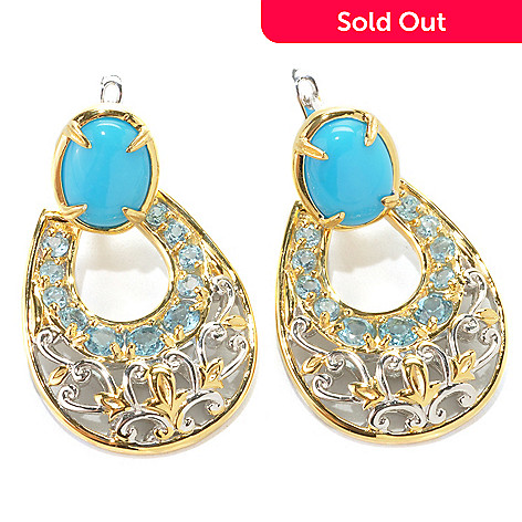 132-994 - Gems en Vogue 1.25'' Sleeping Beauty Turquoise & Topaz Door-Knocker Earrings