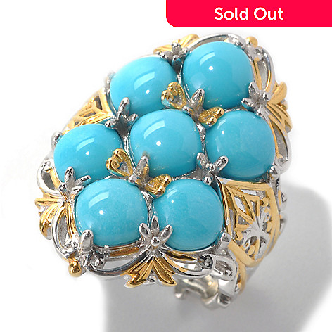 132-997 - Gems en Vogue 6mm Cushion Shaped Sleeping Beauty Turquoise Seven-Stone Ring