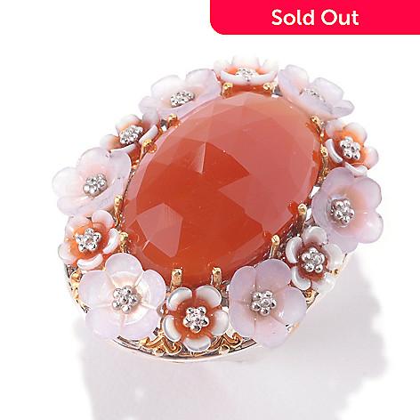 133-007 - Gems en Vogue 22 x 14mm Oval Carnelian & Multi Gemstone Flower Ring