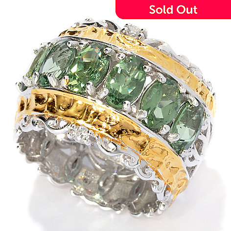 133-008 - Gems en Vogue 2.96ctw Six-Stone Green Apatite & White Sapphire Wide Band Ring