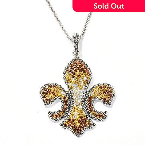 133-012 - Dallas Prince Sterling Silver Pendant & Chain Made w/ Swarovski™ Marcasite