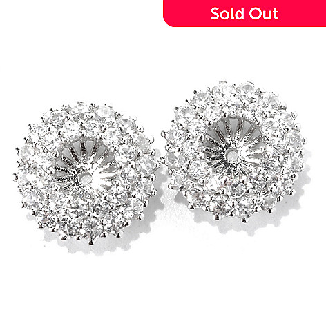 133-019 - Gem Treasures® Sterling Silver 2.73ctw White Zircon Double Row Earring Jackets
