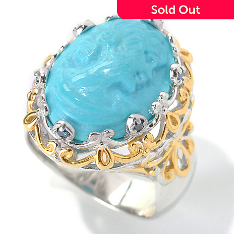 133-026 - Gems en Vogue 16 x 12mm Carved Sleeping Beauty Turquoise Cameo & Blue Diamond Ring
