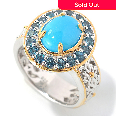 133-028 - Gems en Vogue 9 x 7mm Sleeping Beauty Turquoise & London Blue Topaz Filigree Ring
