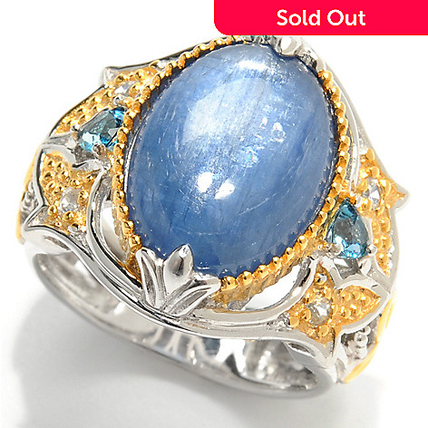 133-031 - Gems en Vogue 14 x 10mm Kyanite, London Blue Topaz & White Sapphire Ring