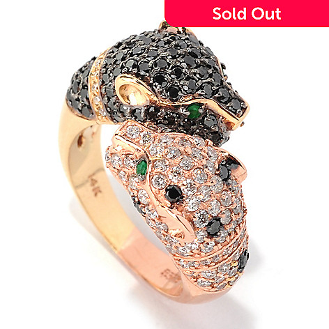 133-035 - EFFY 14K Two-tone Gold 2.33ctw Diamond & Emerald Panther Bypass Ring